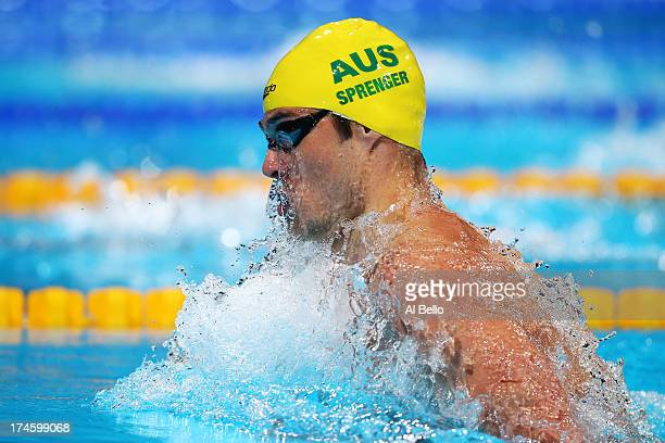 Christian Spregner of Australia competes during the Swimming Men's 100m Breaststroke Heat 7 on day nine of the 15th FINA World Championships at Palau...