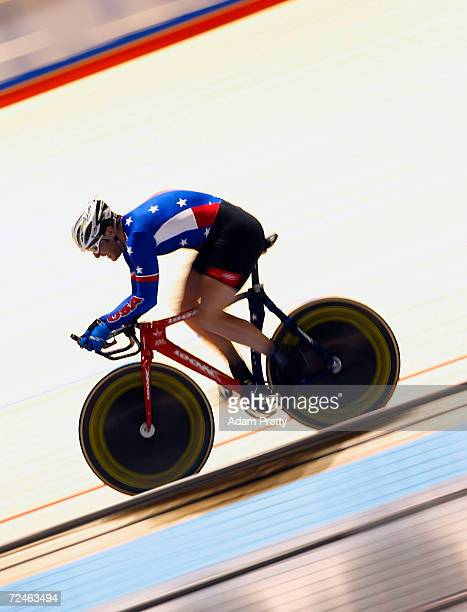 Christian Stahl of USA in action in the mens 1km time trial during day two of the UCI Track Cycling World Championships at the Vodafone Arena...