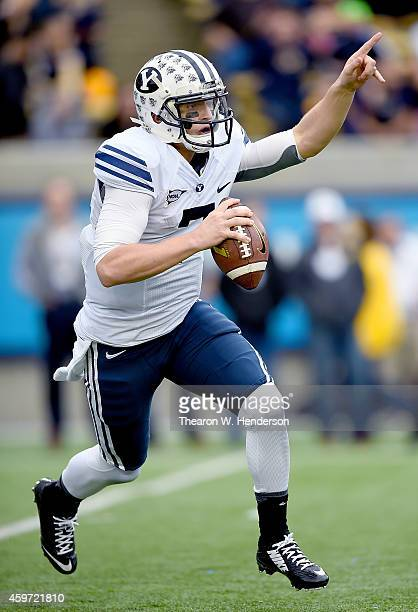 Christian Stewart of the Brigham Young Cougars looks to pass against the California Golden Bears during the first quarter at California Memorial...