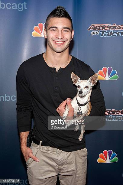 Christian Stoinev and his dog Scooby attend the America's Got Talent PostShow Red Carpet at Radio City Music Hall on August 27 2014 in New York City