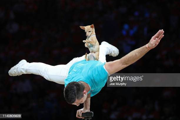 Christian Stoinev performs at halftime during Game Three of Round One of the 2019 NBA Playoffs between the Portland Trail Blazers and the Oklahoma...