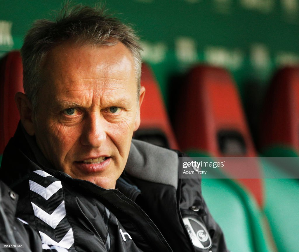 Christian Streich head coach of Freiburg before the Bundesliga match between FC Augsburg and SC Freiburg at WWK Arena on March 18, 2017 in Augsburg, Germany.