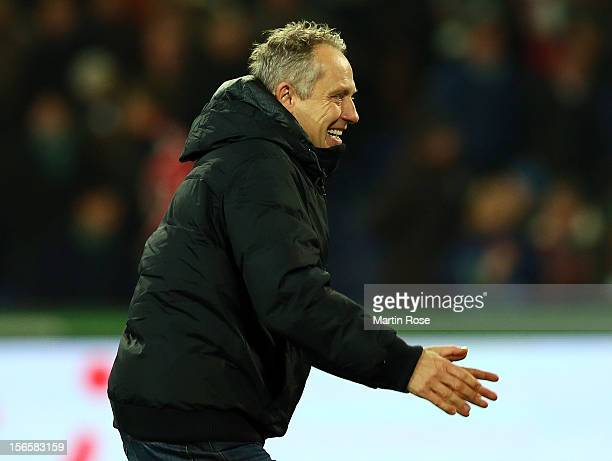 Christian Streich, head coach of Freiburg celebrates after the Bundesliga match between Hannover 96 and SC Freiburg at AWD Arena on November 17, 2012...