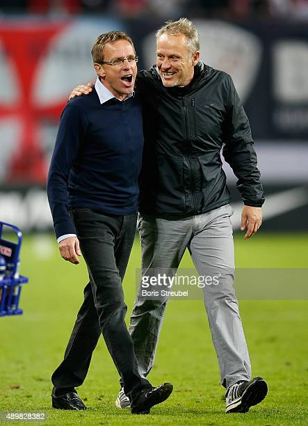 Christian Streich head coach of Freiburg hugs Ralf Rangnick head coach of Leipzig after the Second Bundesliga match between RB Leipzig and SC...