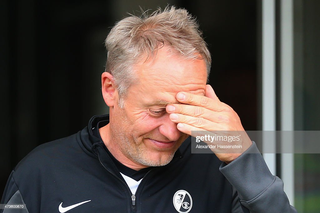 Christian Streich, head coach of Freiburg looks on prior to the Bundesliga match between Sport Club Freiburg and FC Bayern Muenchen at Schwarzwald-Stadion on May 16, 2015 in Freiburg im Breisgau, Germany.