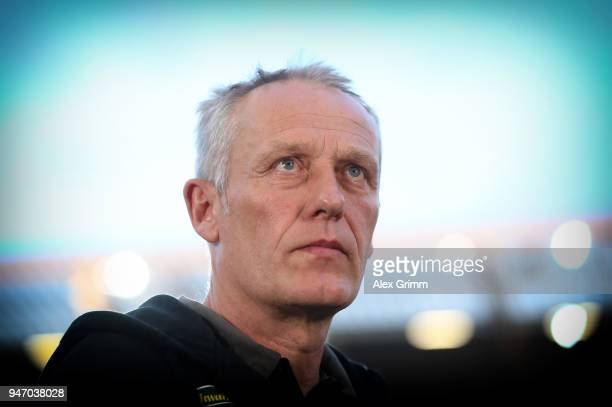 Christian Streich head coach of Freiburg looks on prior to the Bundesliga match between 1 FSV Mainz 05 and SportClub Freiburg at Opel Arena on April...