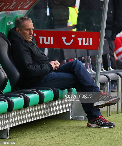 Christian Streich, head coach of Freiburg reacts before the Bundesliga match between Hannover 96 and SC Freiburg at AWD Arena on November 17, 2012 in...