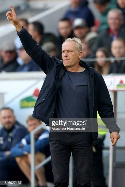 Christian Streich, head coach of Freiburg reacts during the Bundesliga match between Sport-Club Freiburg and RB Leipzig at SC-Stadion on October 16,...