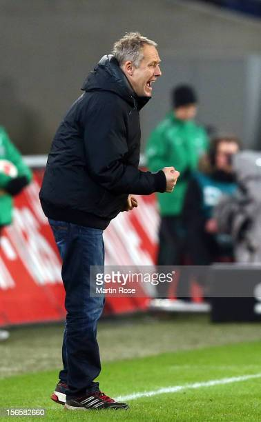Christian Streich, head coach of Freiburg reacts during the Bundesliga match between Hannover 96 and SC Freiburg at AWD Arena on November 17, 2012 in...
