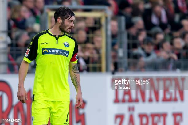 Christian Strohdiek of SC Paderborn 07 looks on during the Bundesliga match between Sport-Club Freiburg and SC Paderborn 07 at Schwarzwald-Stadion on...