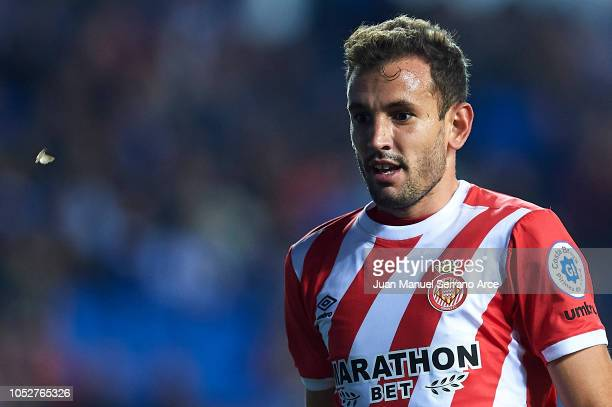 Christian Stuani of Girona FC looks on during the La Liga match between Real Sociedad and Girona FC at Estadio Anoeta on October 22 2018 in San...