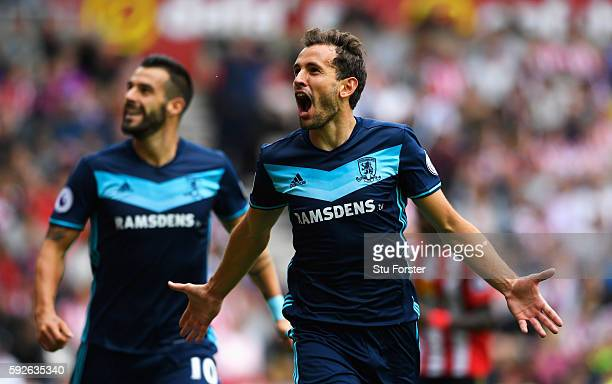 Christian Stuani of Middlesbrough celebrates scoring the opening goal with Alvaro Negredo during the Premier League match between Sunderland and...