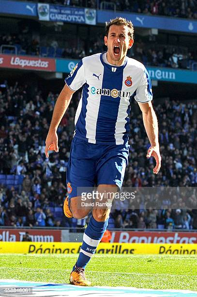 Christian Stuani of RCD Espanyol celebrates after scoring his team's fourth goal during the La Liga match between RCD Espanyol and Real Valldolid CF...