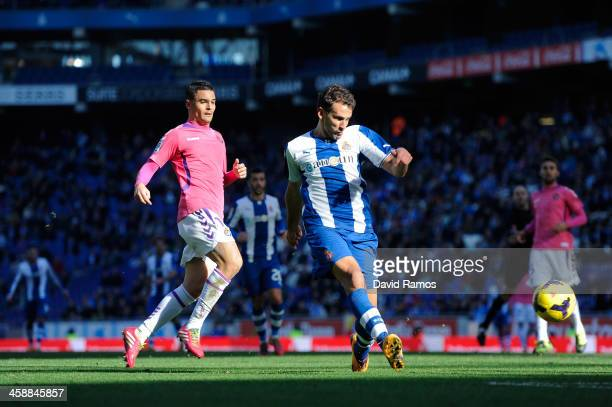 Christian Stuani of RCD Espanyol scores his team's second goal during the La Liga match between RCD Espanyol and Real Valldolid CF at CornellaEl Prat...
