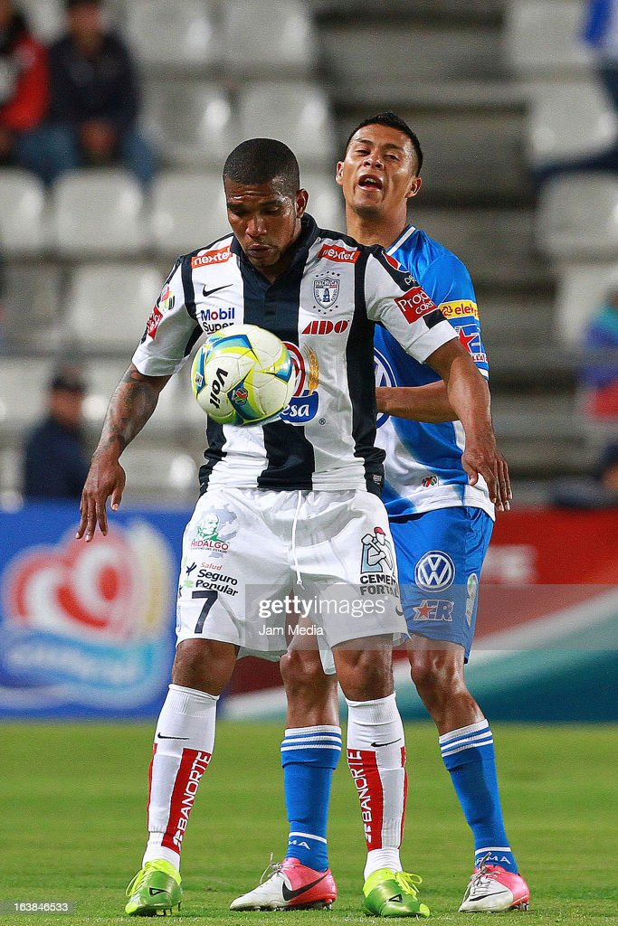 Christian Suarez (L) of Pachuca struggles for the ball with Michael Orozco (R) of Puebla during a match Clausura 2013 Liga MX at Hidalgo Stadium on march 16, 2012 in Pachuca, Mexico.