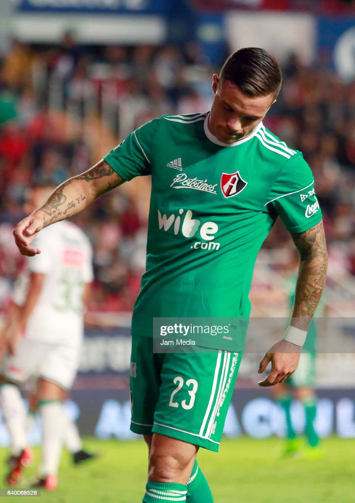 Christian Tabo of Atlas reacts during the seventh round match between Necaxa and Atlas as part of the Torneo Apertura 2017 Liga MX at Victoria Stadium on August 26, 2017 in Aguascalientes, Mexico.