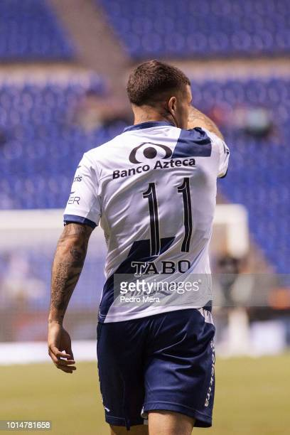 Christian Tabo of Puebla reacts during a match between Puebla and Veracruz as part of Torneo Apertura Liga MX at Estadio Cuauhtemoc on August 10 2018...