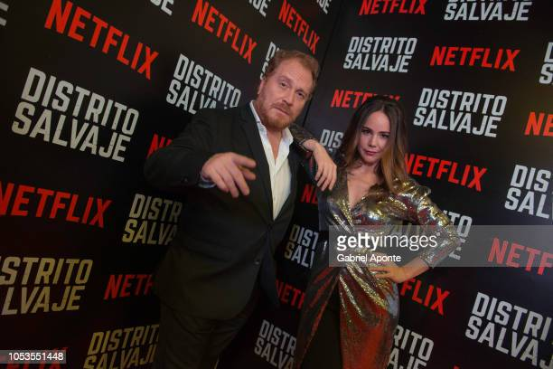 Christian Tappan and Camila Sodi pose during Netflix Distrito Salvaje Premiere on October 10 2018 in Bogota Colombia