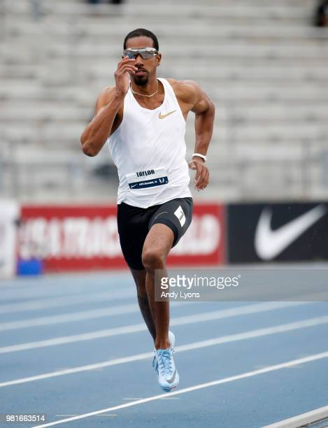 Christian Taylor competes in the semifinals of the Mens 400 Meter during day 2 of the 2018 USATF Outdoor Championships at Drake Stadium on June 22...
