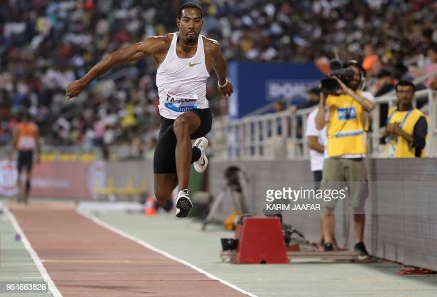 US Christian Taylor competes in the triple jump during the Diamond League athletics competition at the Suhaim bin Hamad Stadium in Doha on May 4 2018