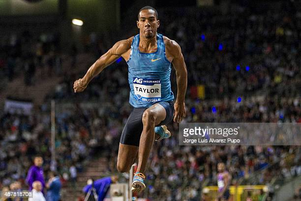 Christian Taylor of the United States competes in men's Triple jump during the AG Insurance Memorial Van Damme as part of the IAAF Diamond League...