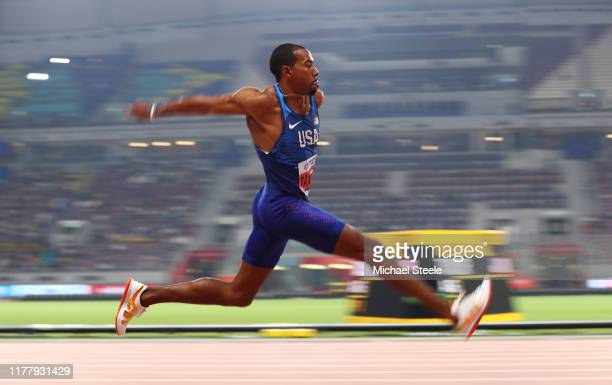 Christian Taylor of the United States competes in the Men's Triple Jump final during day three of 17th IAAF World Athletics Championships Doha 2019...