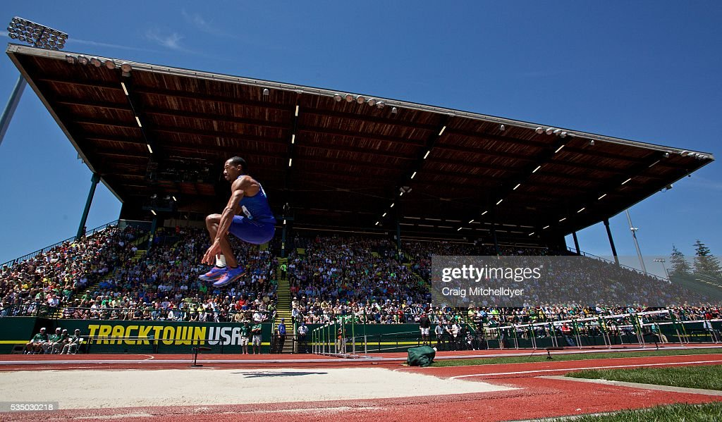 Christian Taylor of the United States competes in the triple jump at Hayward Field on May 28, 2016 in Eugene, Oregon.