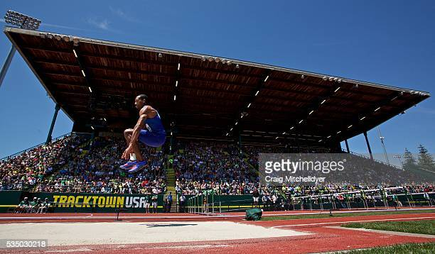 Christian Taylor of the United States competes in the triple jump at Hayward Field on May 28 2016 in Eugene Oregon