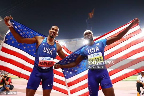 Christian Taylor of the United States gold and Will Claye of the United States silver celebrate after the Men's Triple Jump final during day three of...