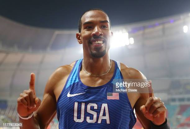 Christian Taylor of the United States, gold, celebrates after the Men's Triple Jump final during day three of 17th IAAF World Athletics Championships...