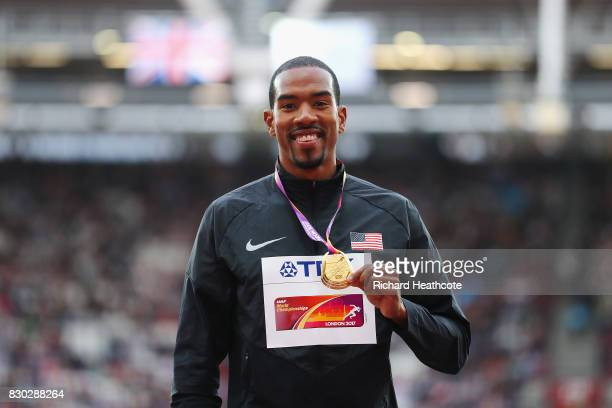 Christian Taylor of the United States, gold, poses with his medal for the Men's Triple Jump during day eight of the 16th IAAF World Athletics...