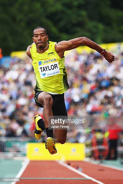 Christian Taylor of the United States of America competes in the Mens Triple Jump during the Aviva London Grand Prix at Crystal Palace on August 6,...