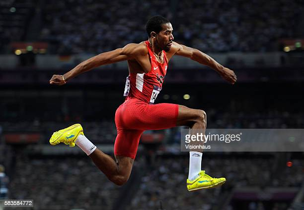Christian Taylor of USA competes in the Triple Jump as part of the 2012 London Olympic Summer Games at the Olympic Stadium, Olympic Park, London,...