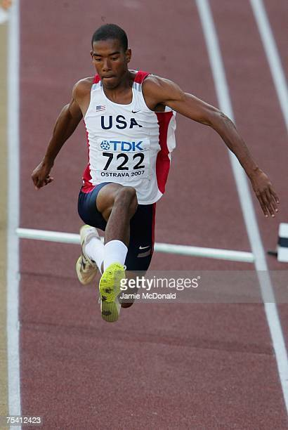 Christian Taylor of USA jumps in the Triple Jump Final during the IAAF World Youth Athletics Championships at the City Stadium on July 14 2007 in...