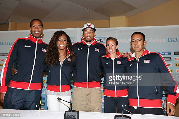 Christian Taylor, Sanya Richards-Ross, Wallace Spearmon, Morgan Uceny and Leonel Manzano of the United States pose together at a press conference...