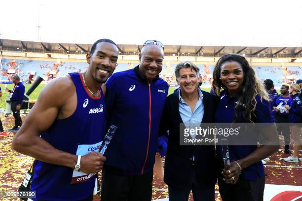 Christian Taylor Team Americas Ambassador Mike Powell IAAF President Sebastian Coe and Caterine Ibarguen pose for a photo following day two of the...