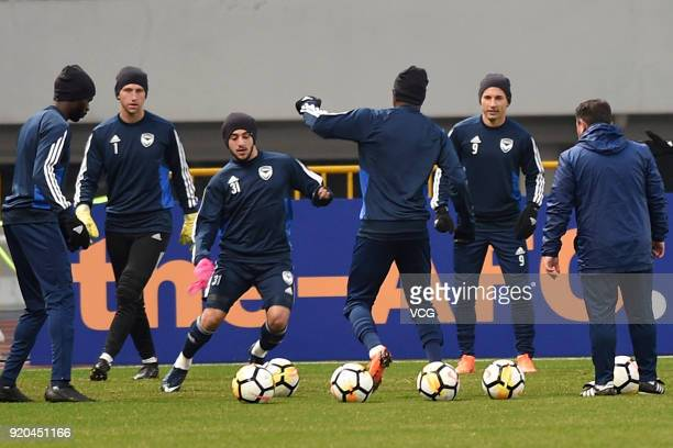 Christian Theoharous of Melbourne Victory FC in action during a training session before the 2018 AFC Champions League Group F match between Shanghai...