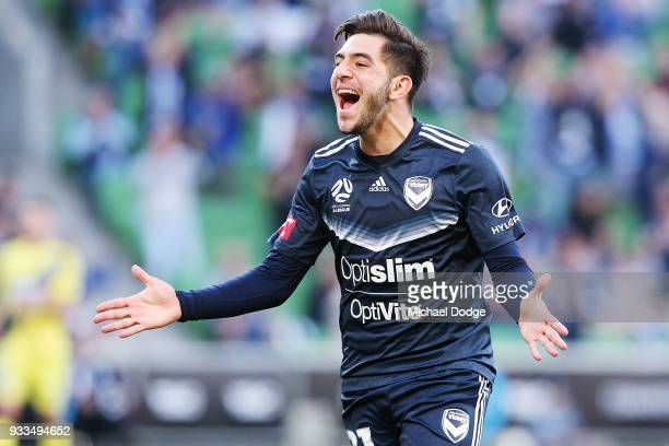 Christian Theoharous of the Victory celebrates after he scored a goal during the round 23 ALeague match between the Melbourne Victory and the Central...