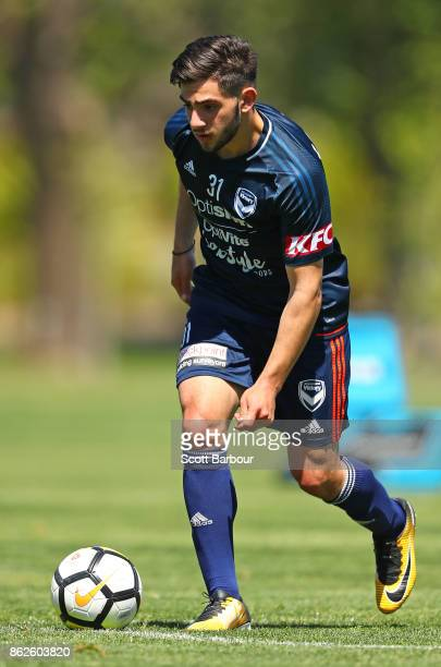 Christian Theoharous of the Victory controls the ball during a Melbourne Victory ALeague training session at Gosch's Paddock on October 18 2017 in...