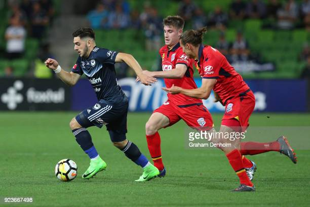 Christian Theoharous of the Victory in action during the round 21 ALeague match between the Melbourne Victory and Adelaide United at AAMI Park on...
