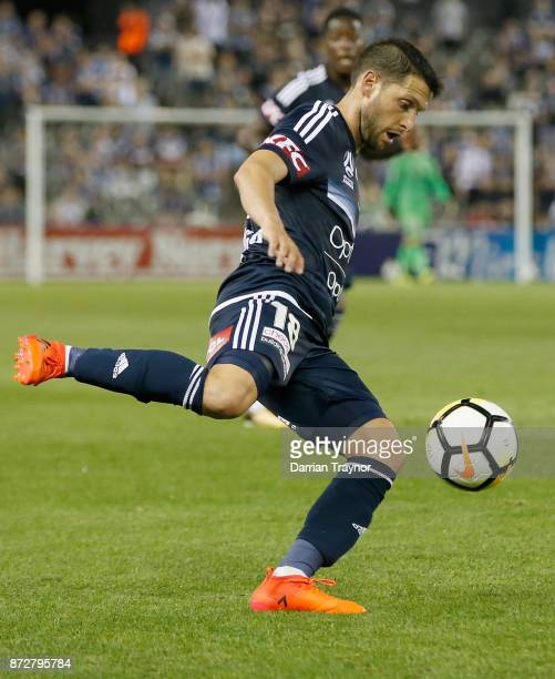 Christian Theoharous of the Victory kicks the ball during the round six ALeague match between the Melbourne Victory and Brisbane Roar at Etihad...