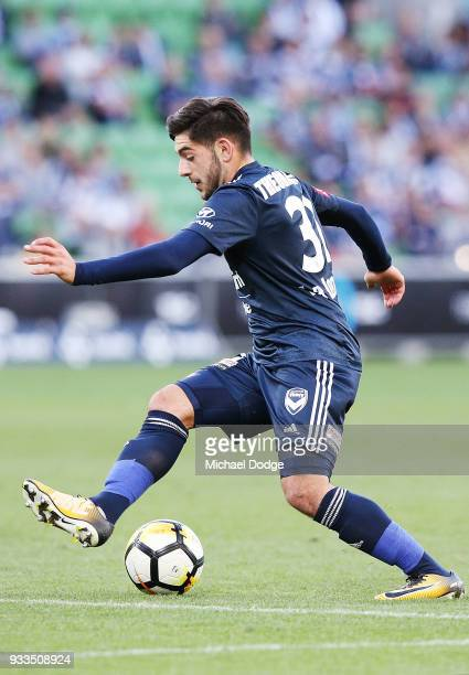 Christian Theoharous of the Victory kicks the ball during the round 23 ALeague match between the Melbourne Victory and the Central Coast Mariners at...