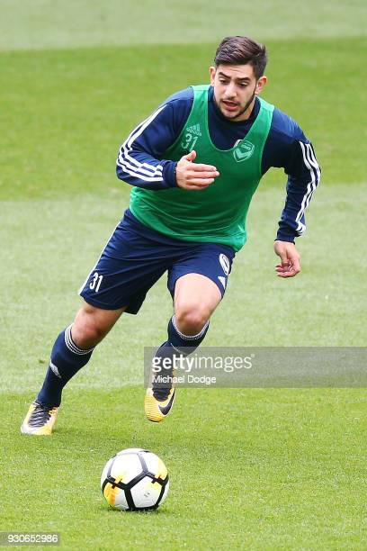 Christian Theoharous of the Victory runs with the ball during a Melbourne Victory Training Session at AAMI Park on March 12 2018 in Melbourne...