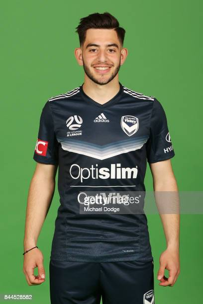Christian Theoharous poses during the Melbourne Victory 2017/18 ALeague headshots session at AAMI Park on September 8 2017 in Melbourne Australia