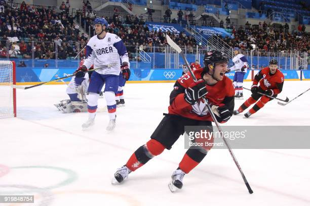 Christian Thomas of Canada celebrates after scoring a goal on Matt Dalton of Korea in the first period during the Men's Ice Hockey Preliminary Round...
