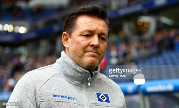 Ralf Becker sport director of Hamburg looks on before the Second Bundesliga match between Hamburger SV and SSV Jahn Regensburg at Volksparkstadion on...