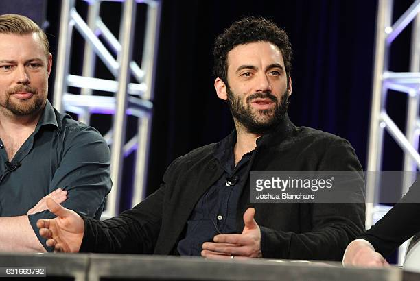 Christian Torpe and Morgan Spector of Spike's The Mist attends the Viacom Winter TCA Panels and Party on January 13 2017 in Pasadena California