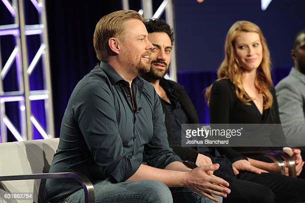 Christian Torpe Morgan Spector and Alyssa Sutherland of Spike's The Mist attends the Viacom Winter TCA Panels and Party on January 13 2017 in...