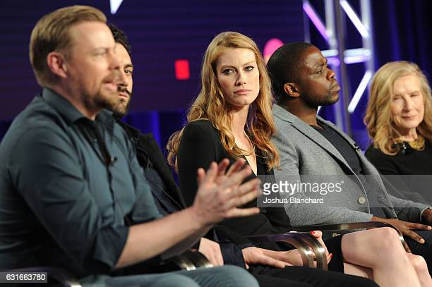 Christian Torpe Morgan Spector and Alyssa Sutherland Okezie Morro and Frances Conroy of Spike's The Mist attends the Viacom Winter TCA Panels and...