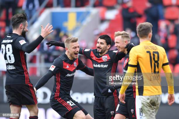 Christian Traesch Hauke Finn Wahl Almog Cohen and Sonny Kittel of Ingolstadt celebrate after their teams fourth goal during the Second Bundesliga...